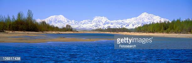 river and mountain - mt. susitna stock pictures, royalty-free photos & images