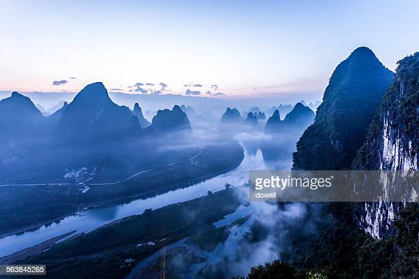River and mountains in guilin at sunset