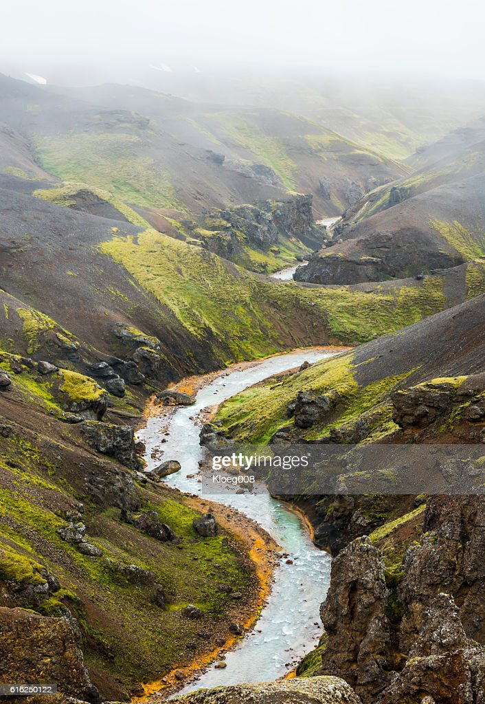 River and Mountains Kerlingarfjoll Iceland : Stock Photo