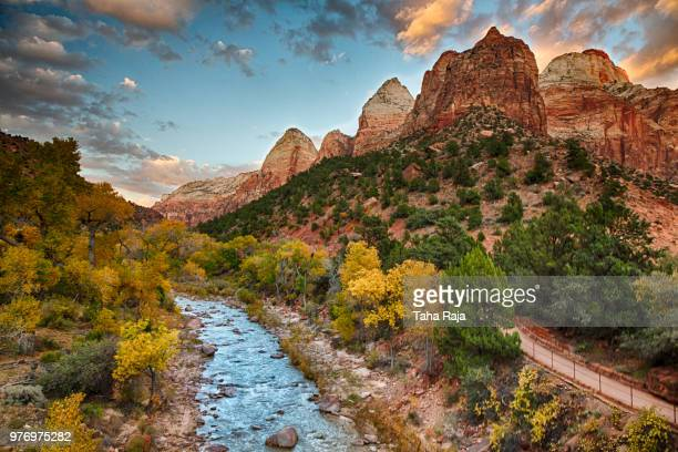 River and rock formations in Zion National Park, Utah, USA