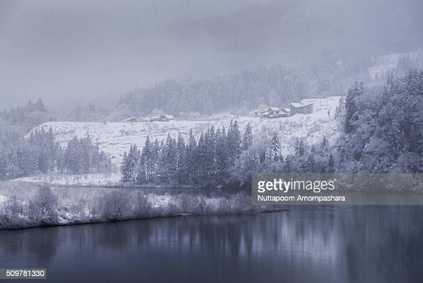 river and snowy bank - mishima city stock photos and pictures