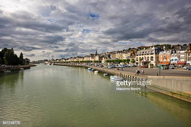 river and town, trouville, france - trouville sur mer stock pictures, royalty-free photos & images