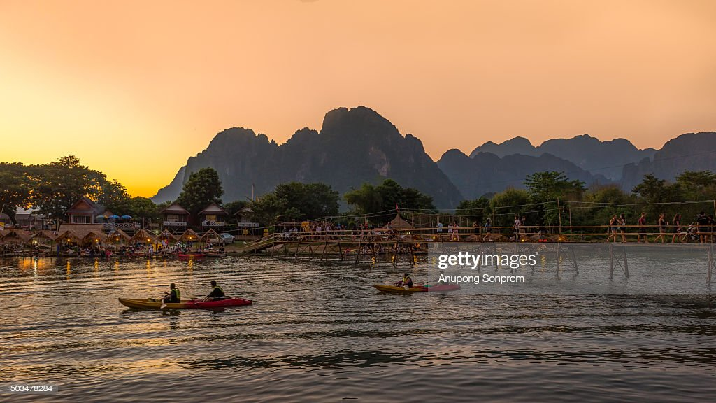 River at the village of Vang Vieng on Laos. : Stock Photo