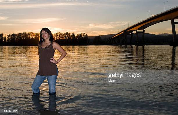 river beauty - wet jeans stock photos and pictures