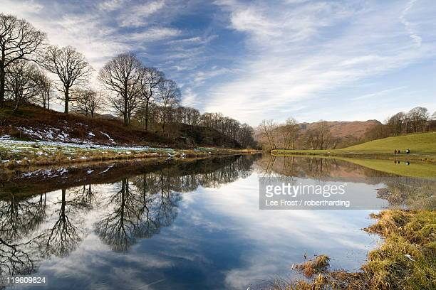 river brathay on a calm winter's day with reflections of trees and distant fells, near ambleside, lake district national park, cumbria, england, united kingdom, europe - newpremiumuk stock pictures, royalty-free photos & images
