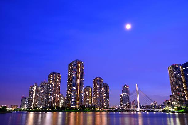River City with moon(blue)