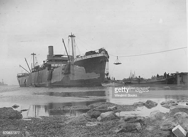 SS River Clyde which loaded with troops was run ashore on the beach at Sedd el Bahr