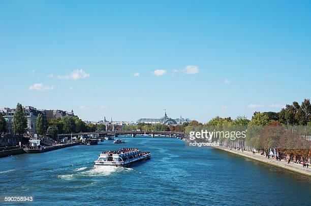 River cruise boat on River Seine in Paris