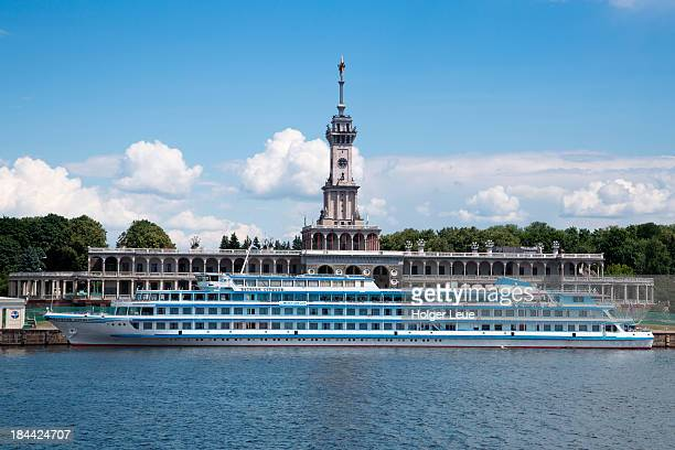 river cruise ship port - volga stock pictures, royalty-free photos & images