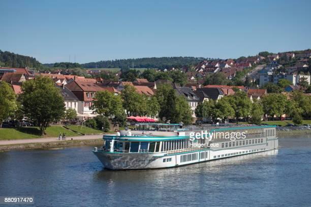 River cruise ship Swiss Crown (Phoenix Kreuzfahrten) on Main river, Marktheidenfeld, Spessart-Mainland, Franconia, Bavaria, Germany