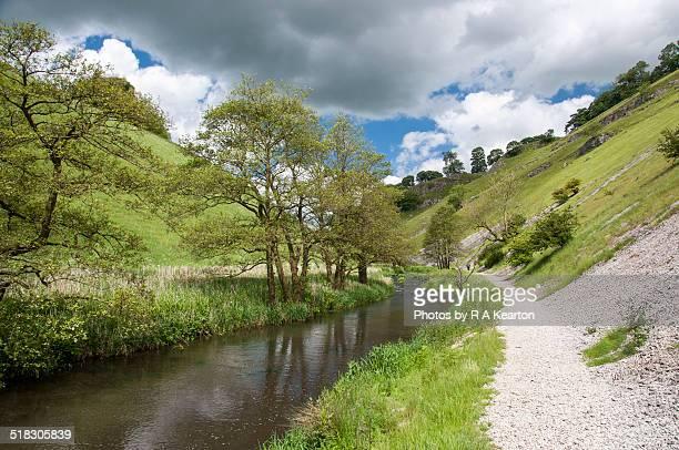 river dove in wolfscote dale, derbyshire - erle stock-fotos und bilder