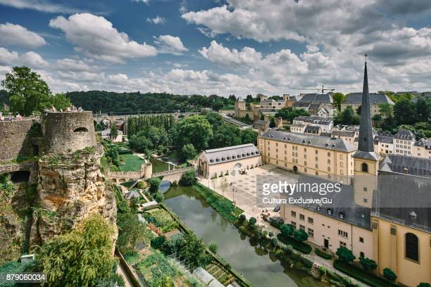 River flowing through the city of Luxembourg, Europe