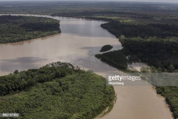 A river flows through Chiribiquete National Park is seen in this aerial photograph taken above San Jose del Guaviare Colombia on Monday July 2 2018...