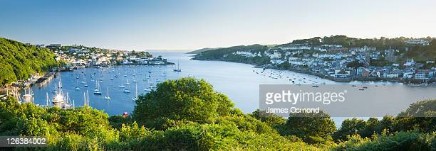 River Fowey Estuary from the Hall Walk with Polruan on the left and Fowey on the right. Cornwall. England. UK.
