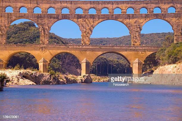 river gard and the pont du gard, nimes, france - gard stock photos and pictures