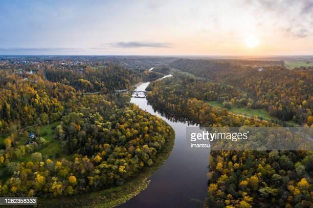 river gauja next to sigulda, latvia - national landmark stock pictures, royalty-free photos & images