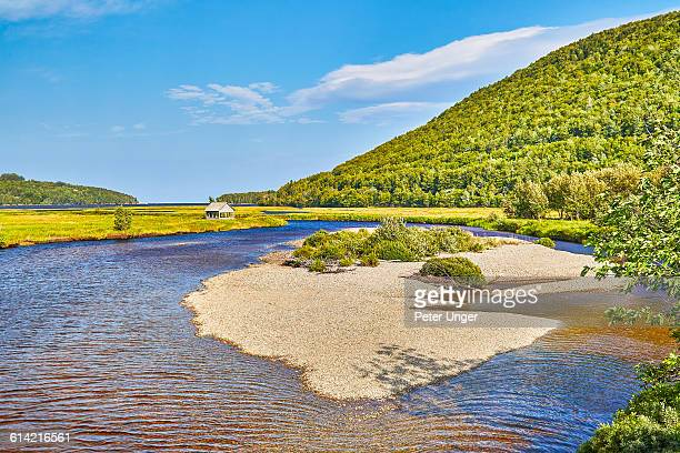River heading to ocean outlet,Nova Scotia