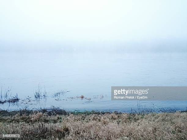 river in fog - roman pretot stock-fotos und bilder