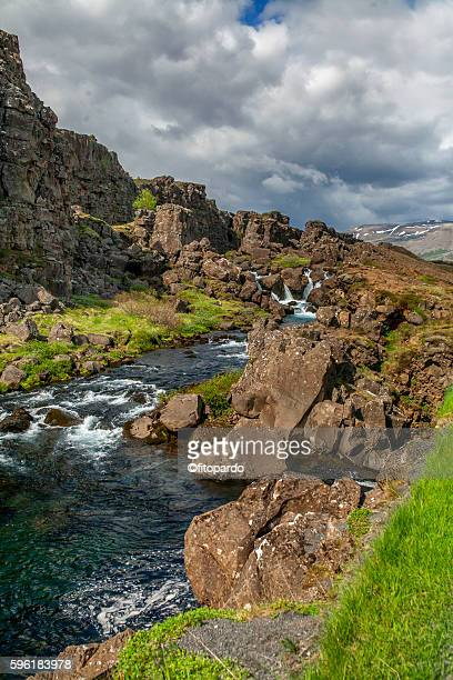 a river in þingvellir national park, iceland - plate tectonics stock photos and pictures