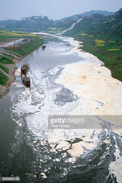 A river in Sichuan Province polluted by a paper mill