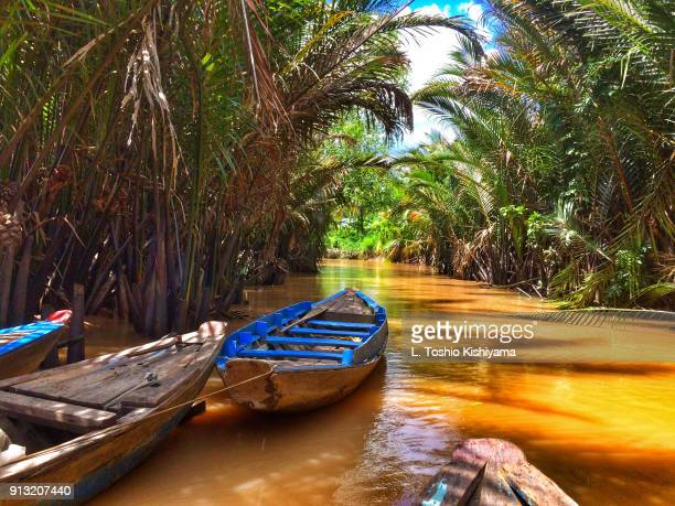 river in the mekong delta in vietnam - provinz can tho stock-fotos und bilder