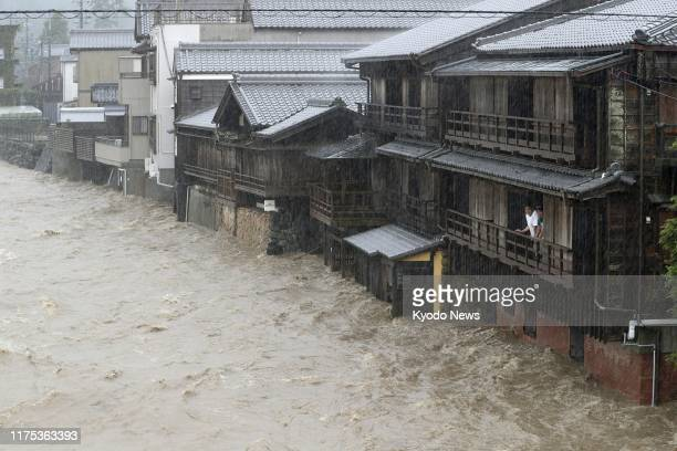 River is swollen in Ise, Mie Prefecture, central Japan, on Oct. 12 ahead of the arrival of Typhoon Hagibis, which is expected to make landfall in...
