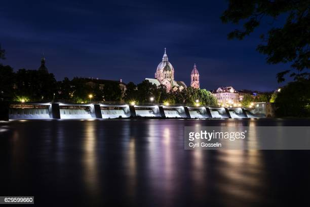 River Isar at night in Munich