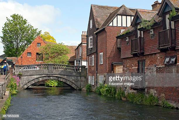 River Itchen running through the historical old town center of Winchester Hampshire England