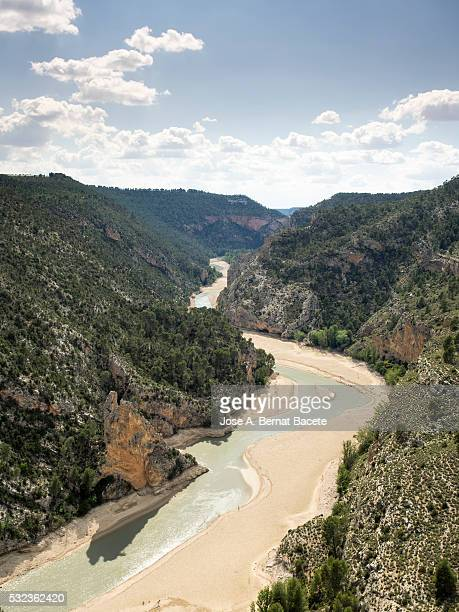 River Jucar that passes between mountains in epoch of drought