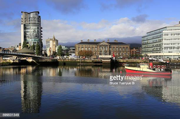 river lagan with custom house in the background - belfast stock pictures, royalty-free photos & images