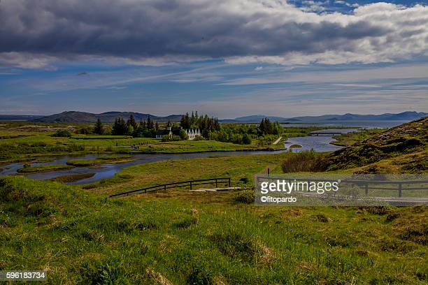 river, lake and historical landmark in þingvellir national park of iceland - plate tectonics stock photos and pictures