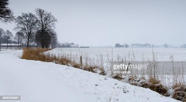 River landscape in snow, Overijssel, Twente, Holland