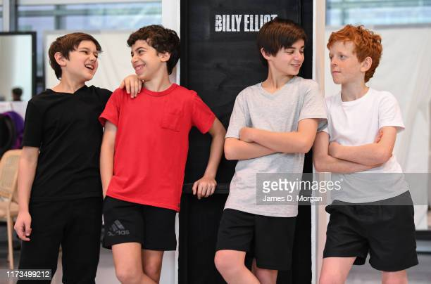 River Mardesic Omar Abiad Wade Neilsen and Jamie Rogers all playing Billy Elliot during a media call for Billy Elliot The Musical on September 10...