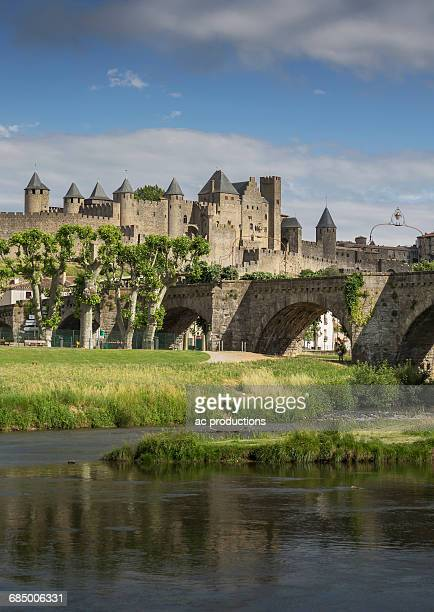 River near medieval city of Carcassonne, Languedoc-Roussillon, France