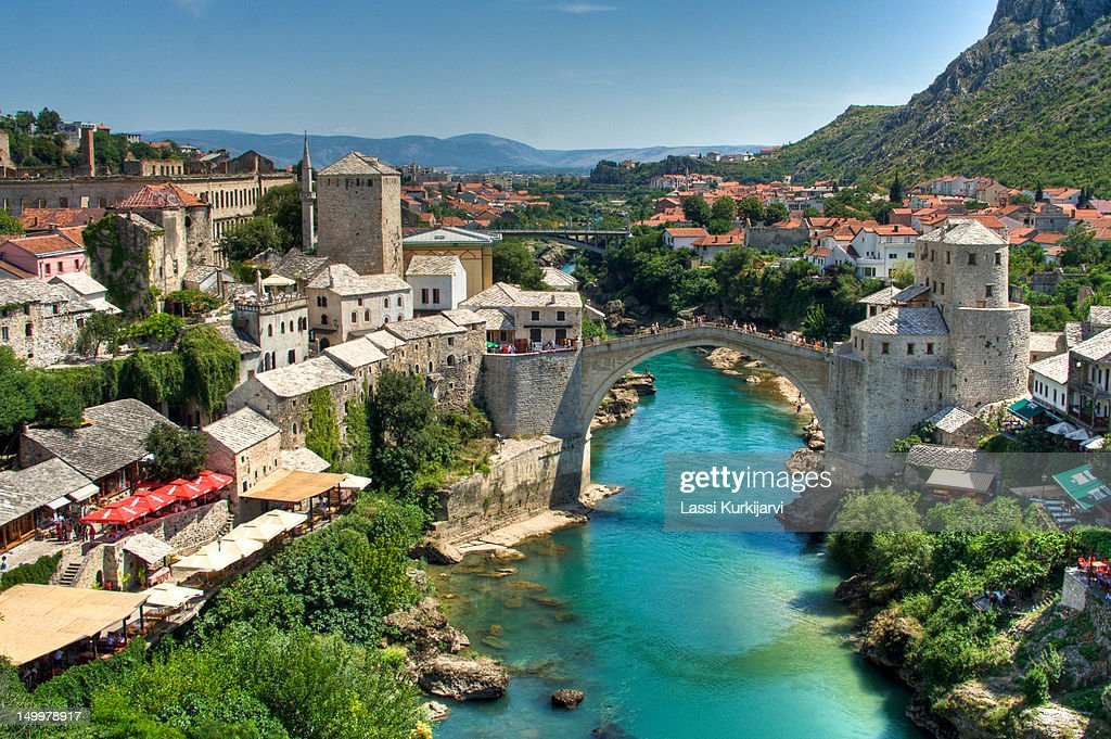 River Neretva and city of Mostar : Stock Photo