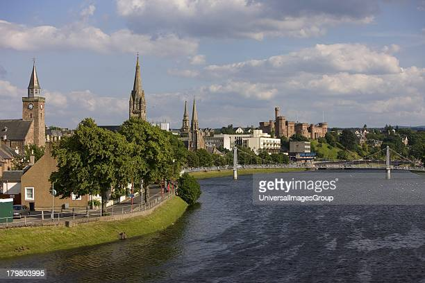 River Ness and the town of Inverness Scottish Highlands Scotland United Kingdom