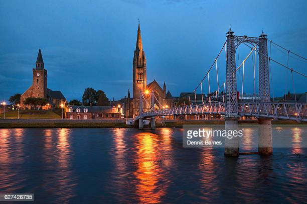 River Ness at Inverness, Night, Scotland