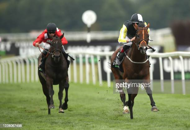 River Nymph ridden by jockey Adam Kirby on their way to winning the Unibet 3 Uniboosts A Day Hanidcap race at Newbury Racecourse on August 16 2020 in...