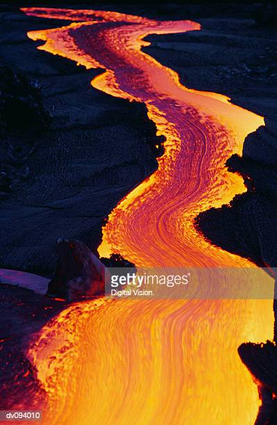river of lava - lava stock pictures, royalty-free photos & images