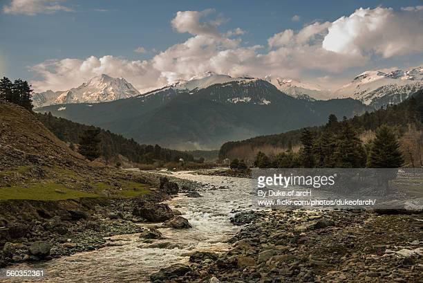 river on the road to pahalgam : kashmir : india - kashmir valley stock photos and pictures