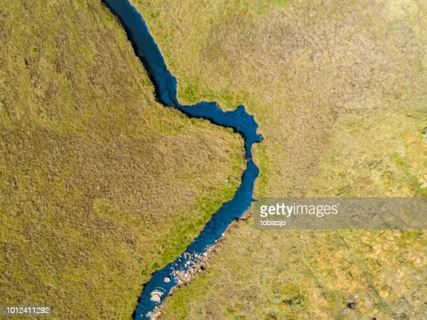 river passing through a green savannah landscape - pianura foto e immagini stock