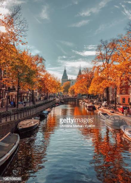 river passing through city during autumn - holanda fotografías e imágenes de stock