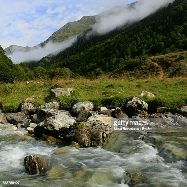 River Passing Through Mountain Range