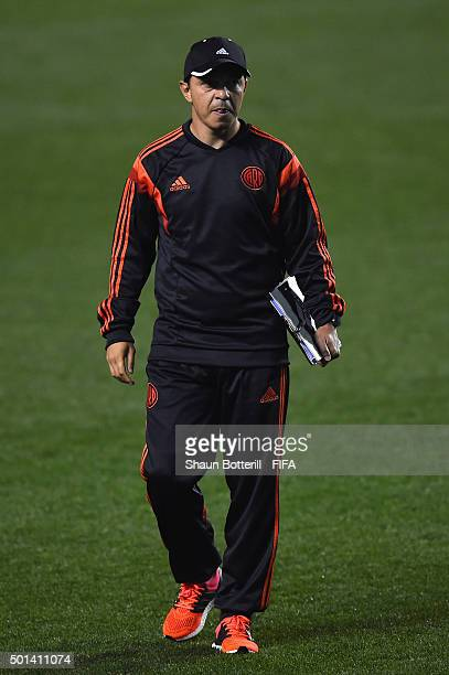 River Plate coach Marcelo Gallardo during a training session at Osaka Nagai Stadium on December 15 2015 in Osaka Japan
