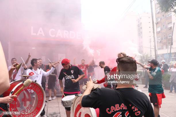 River Plate fans cheer ahead of the second leg of the final match of the Copa Libertadores between River Plate and Boca Juniors in Monumental stadium...