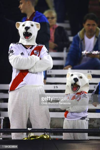 River Plate fans look on during a match between River Plate and Colón as part of Superliga Argentina 2019/20 at Estadio Monumental Antonio Vespucio...