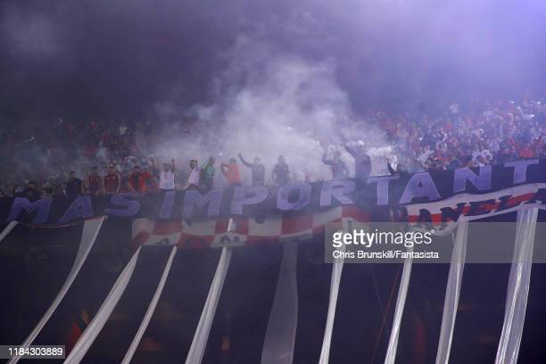 RIver Plate fans support their team during a match between River Plate and Colón as part of Superliga Argentina 2019/20 at Estadio Monumental Antonio...
