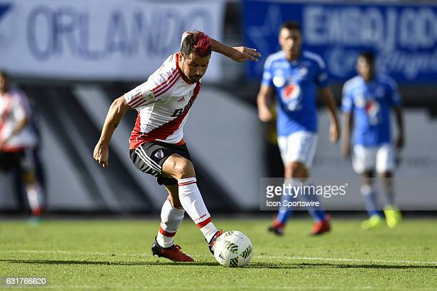 River Plate forward Rodrigo Mora turns away fro pressure during the second half of a Florida Cup quarterfinal match between River Plate and...