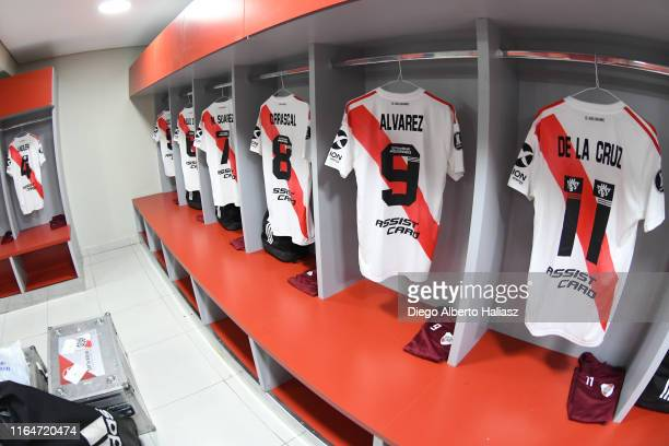 River Plate jerseys in the dressing room before a match between Cerro Porteño and River Plate as part of Quarter Finals of Copa CONMEBOL libertadores...