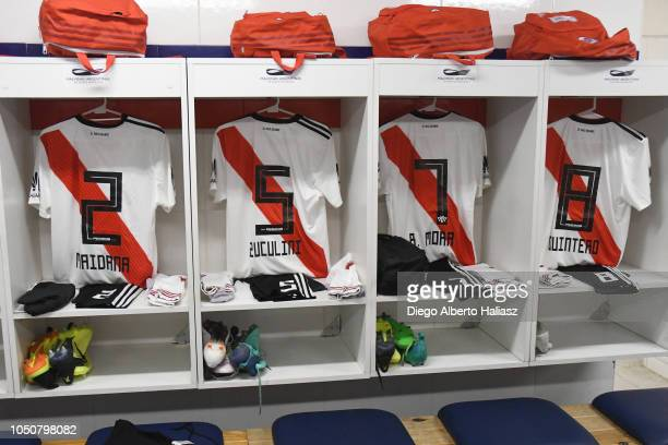 River Plate jerseys in the dressing room before a quarterfinals match between River Plate and Sarmiento as part of the Copa Argentina at Estadio...